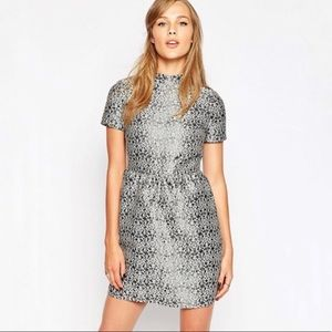 Sister Jane Mock Neck Damask Print Jacquard Dress